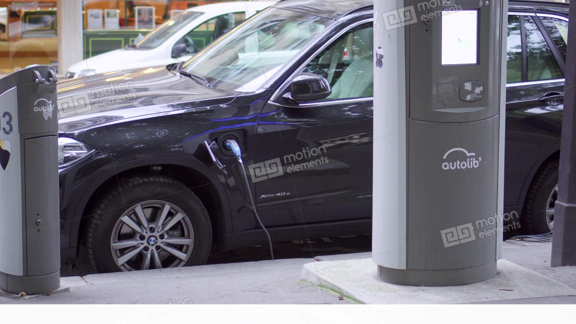 Paris France Circa August 2017 Bmw Electric Car Charging Electro