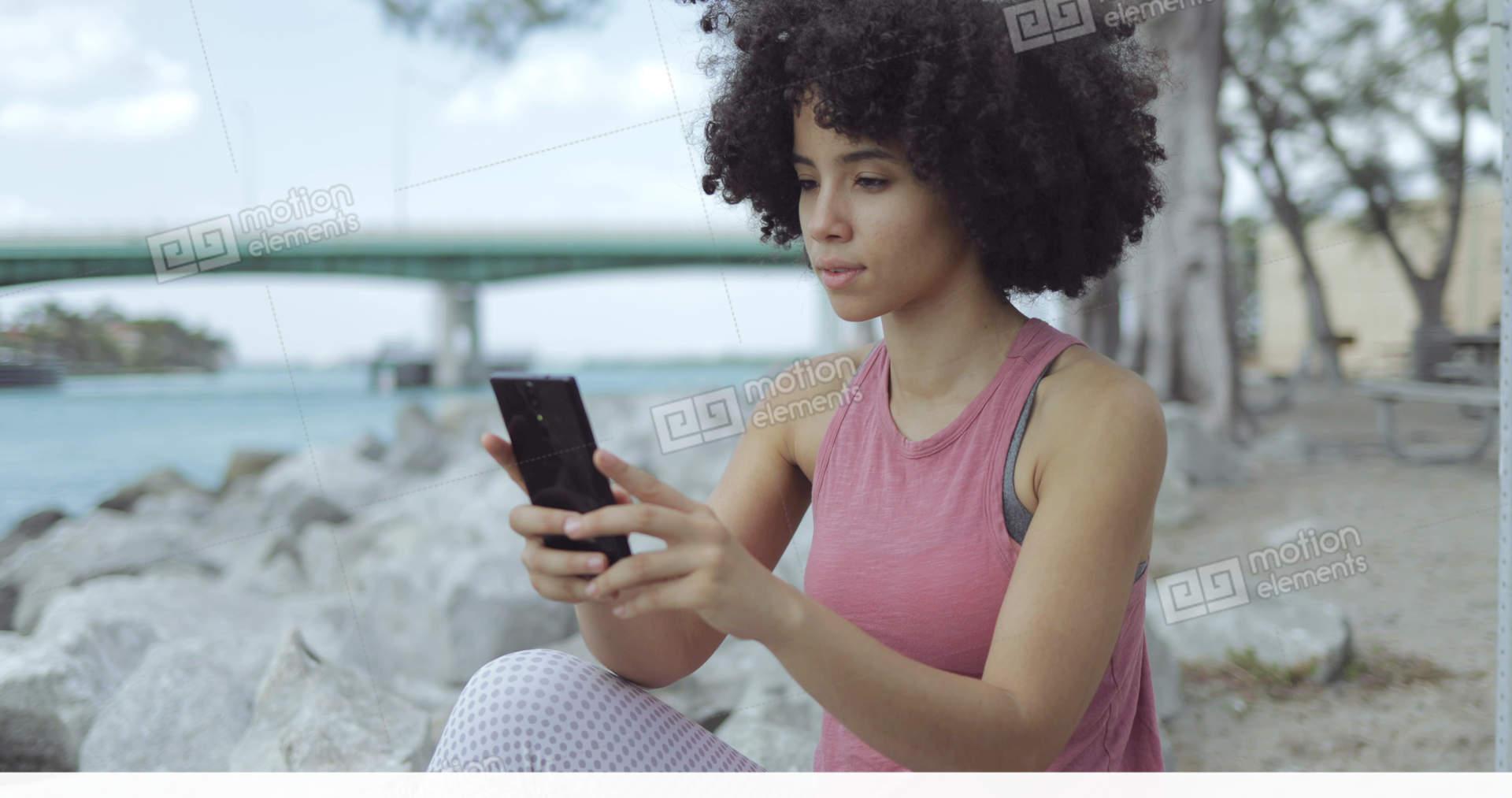 Casual Black Girl Taking Selfie On Riverside Stock Video Footage  11497592-7505