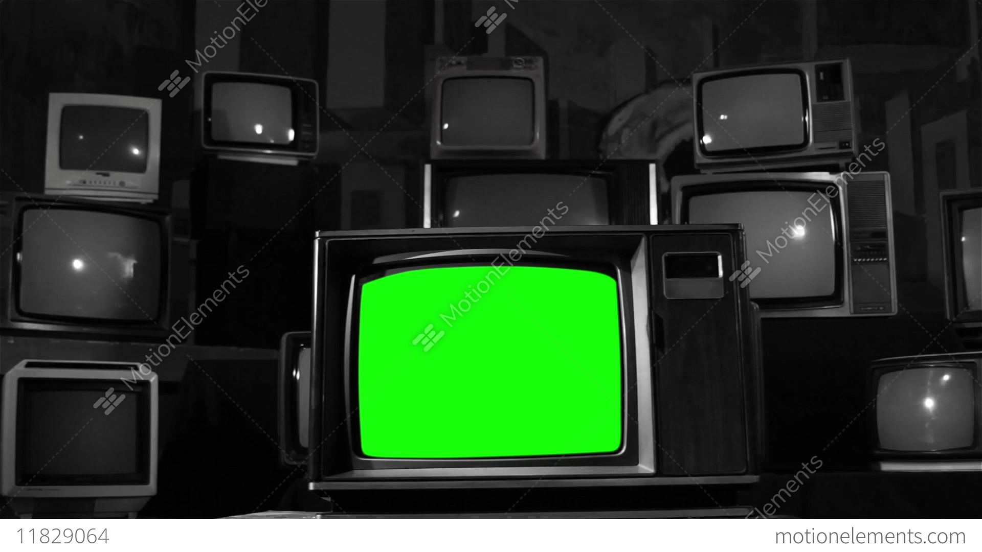 Old Television With Green Screen Black And White Turns To Color