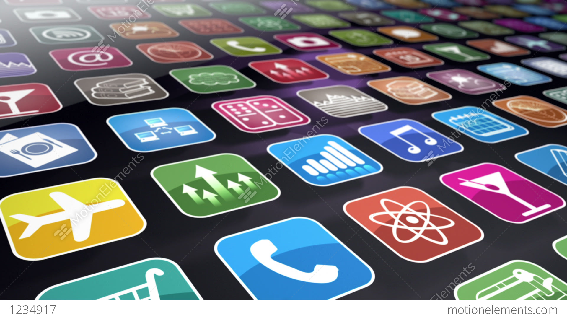 Mobile Apps Seamless Background Loop Stock Animation