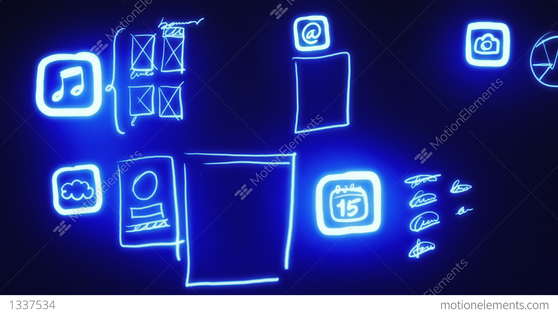 Mobile app wireframing prototyping neon blueprint stock mobile app wireframing prototyping neon blueprint stock video footage malvernweather Images