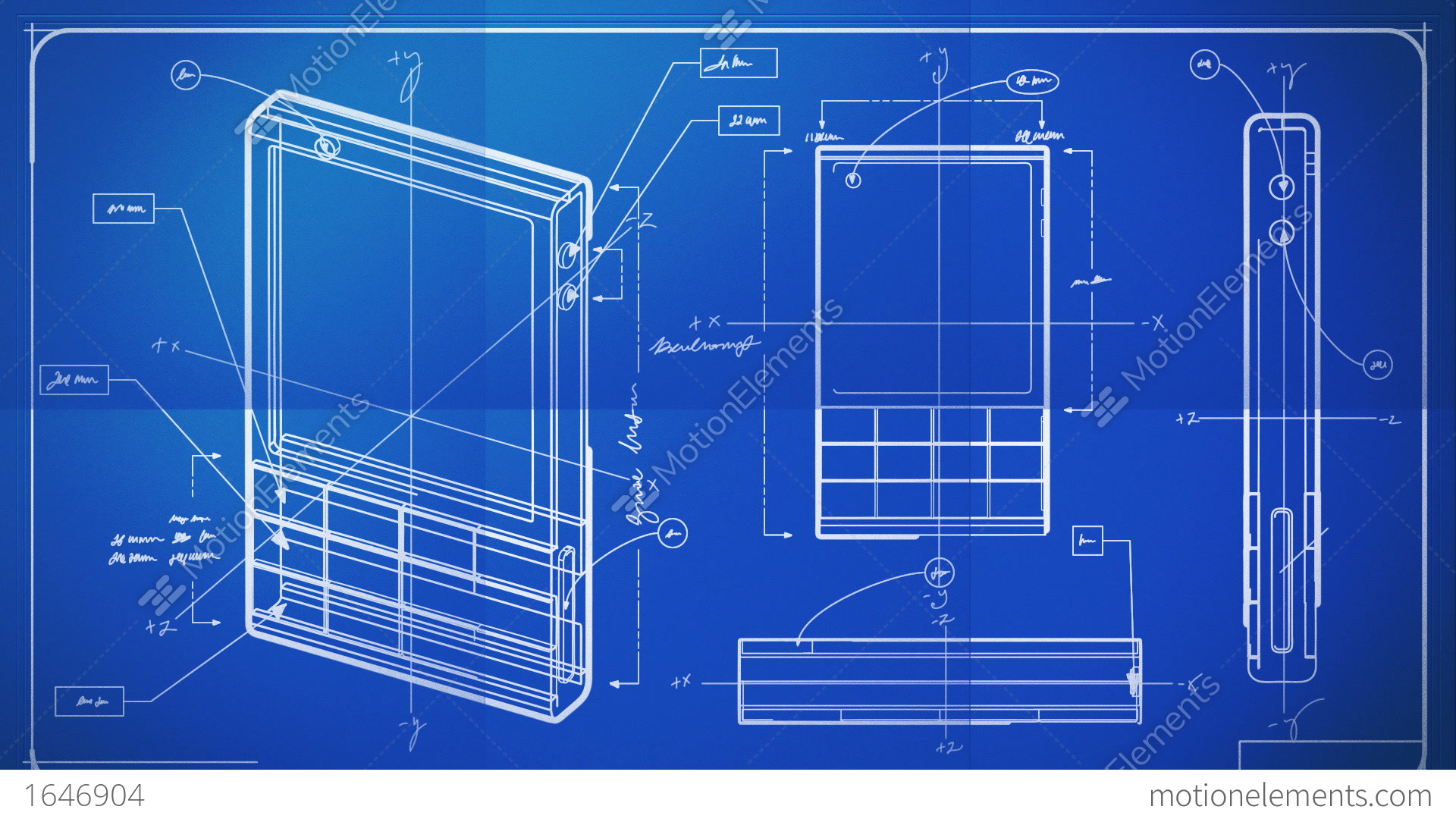 Classic Smartphone Technical Drawing Blueprint Stock Animation | 1646904