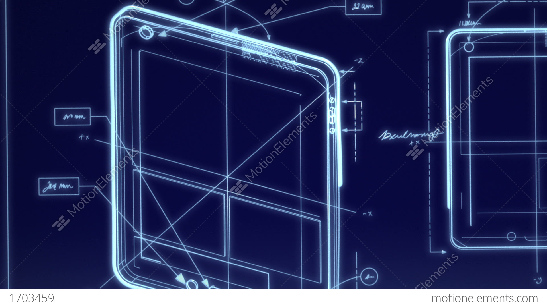 Tablet Computer Technical Design Animation Stock Animation