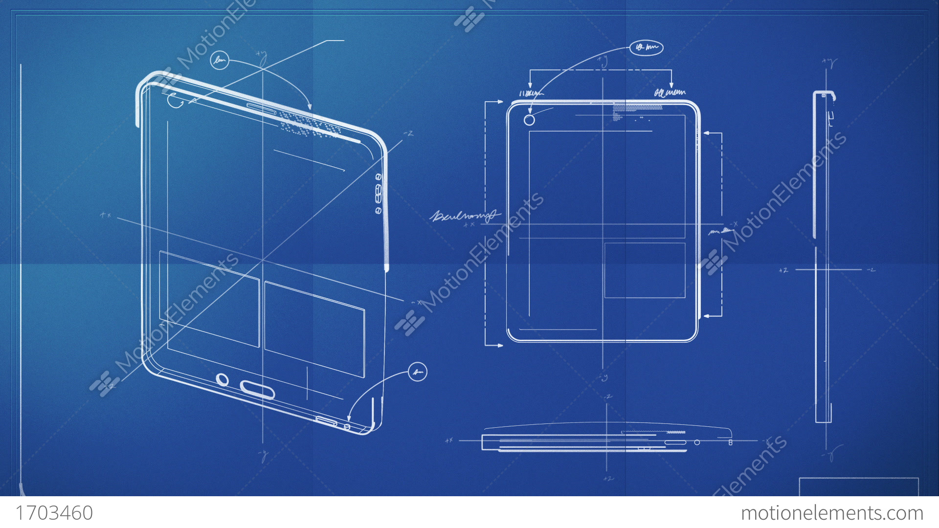 Tablet PC Blueprint Stock Animation | 1703460