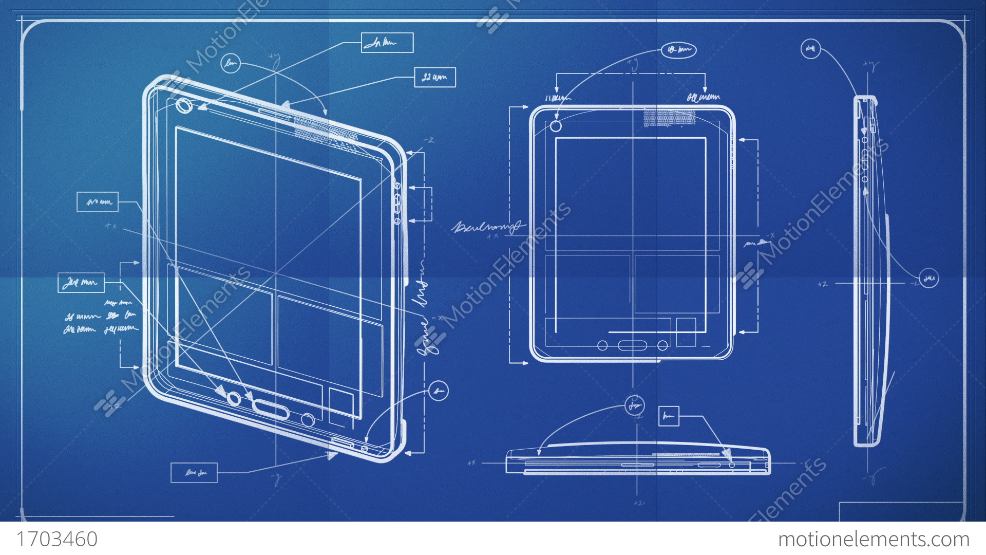 Tablet pc blueprint stock animation 1703460 for Where to print blueprints