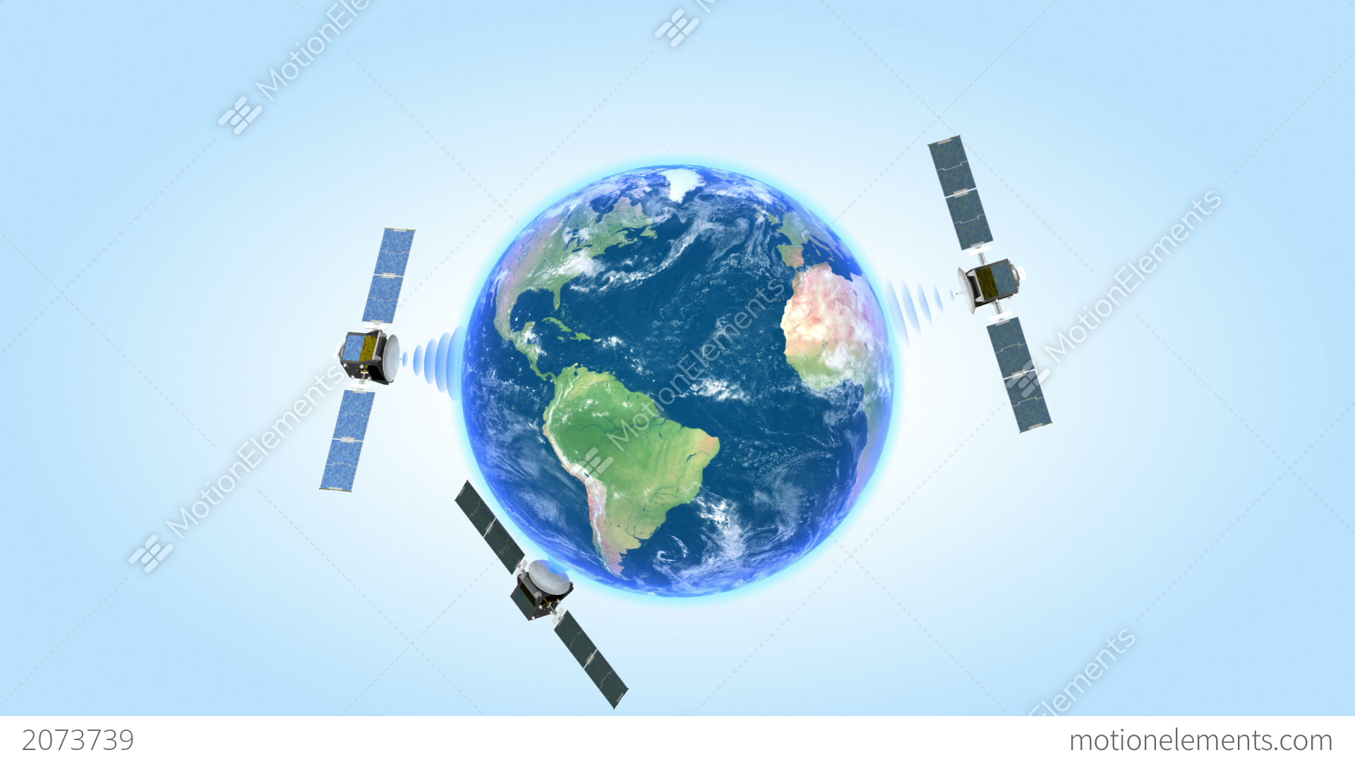 Three Satellites Spinning Around The Earth On Blue Stock