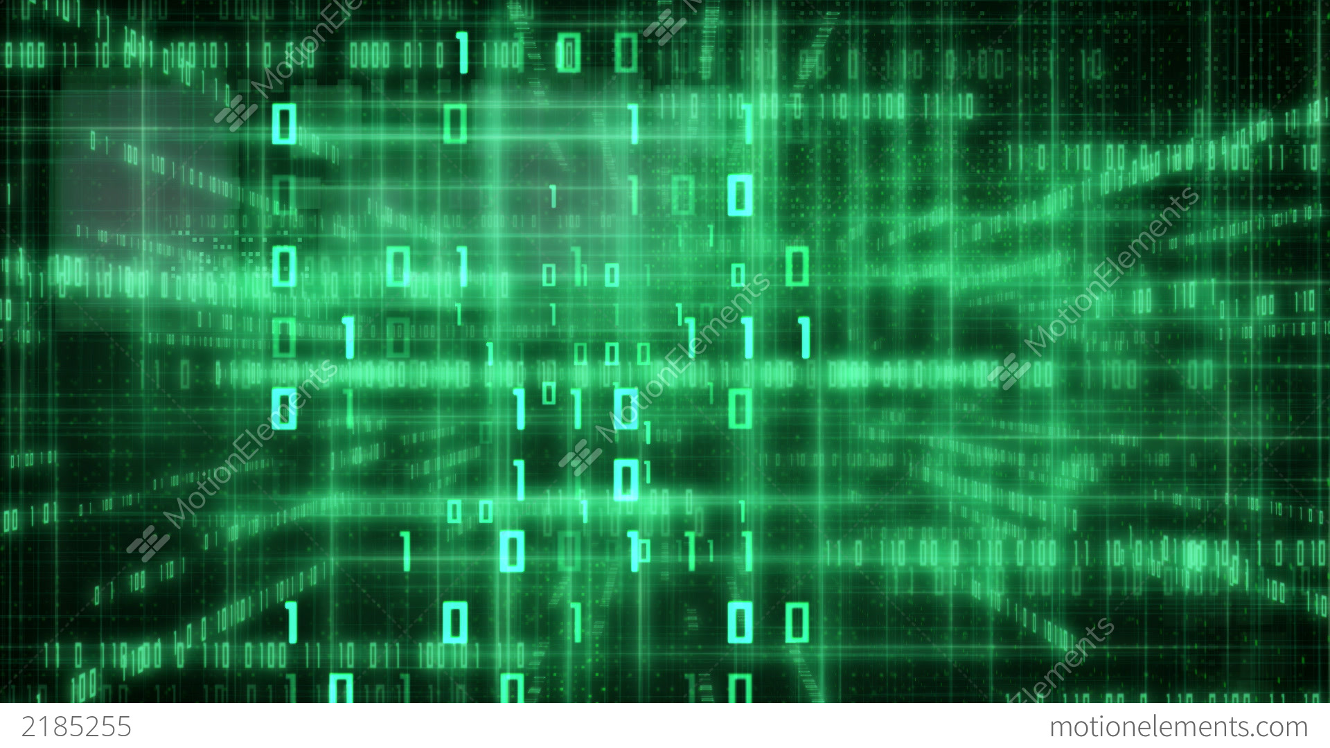 Green Loopable IT Background Glowing Binary Signs Stock