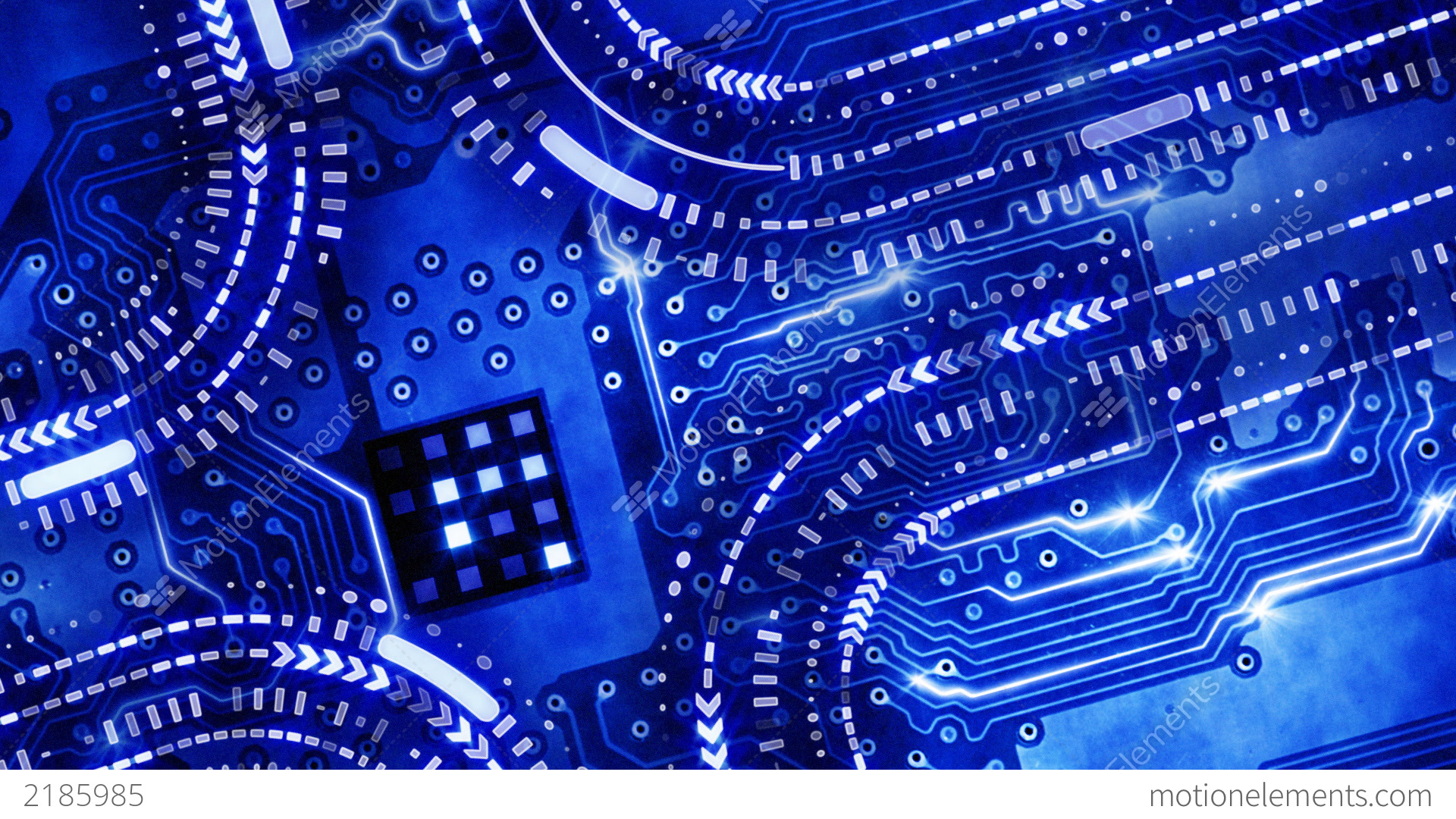 Blue Technology Circuit Board Background Loop Stock Animation | 2185985