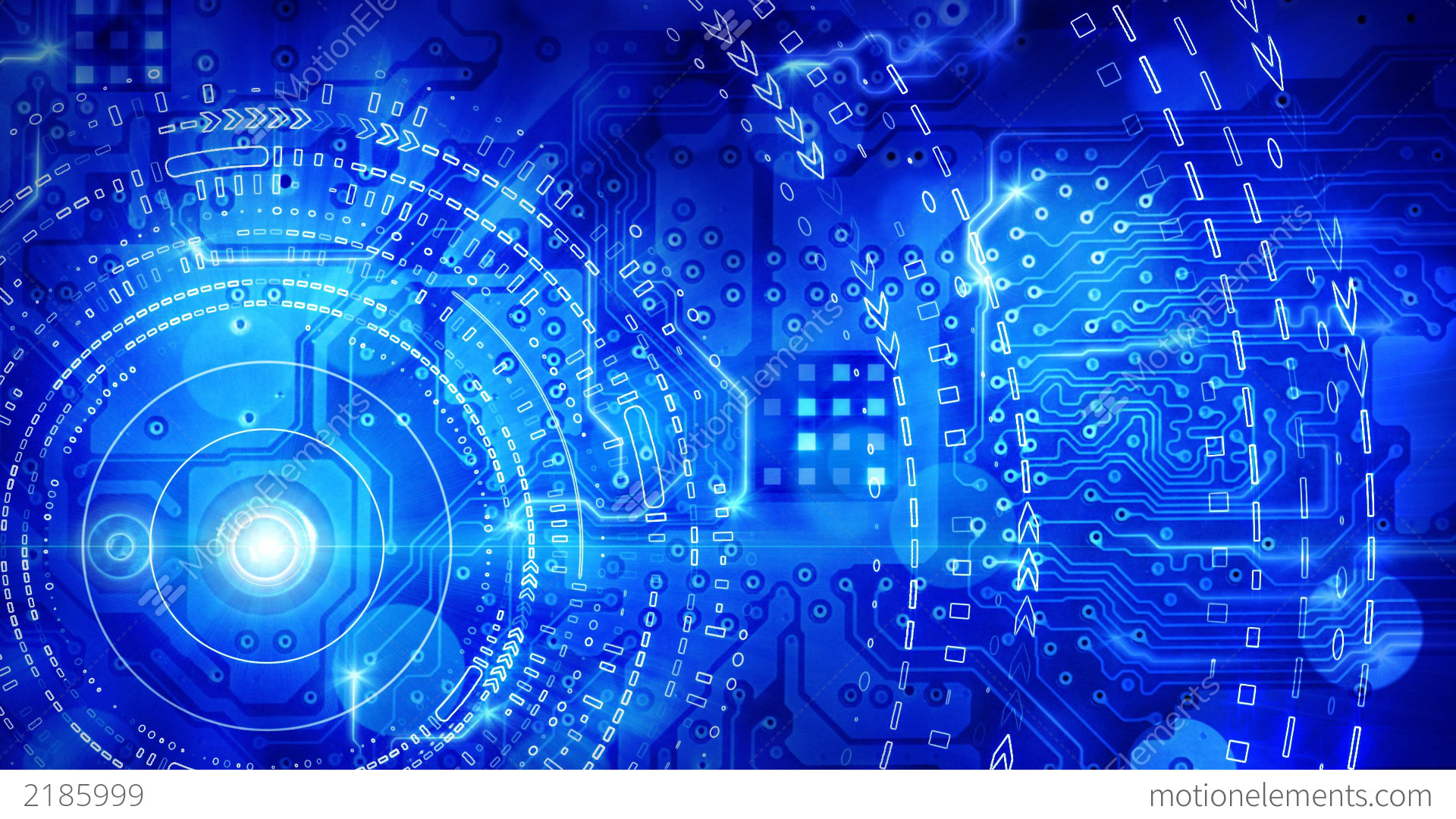 Technology Background Laptop: Blue Computer Circuit Board Background Loop Stock