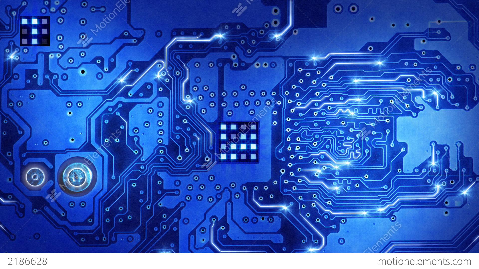Computer Circuit Board Blue Loopable Background Stock ...
