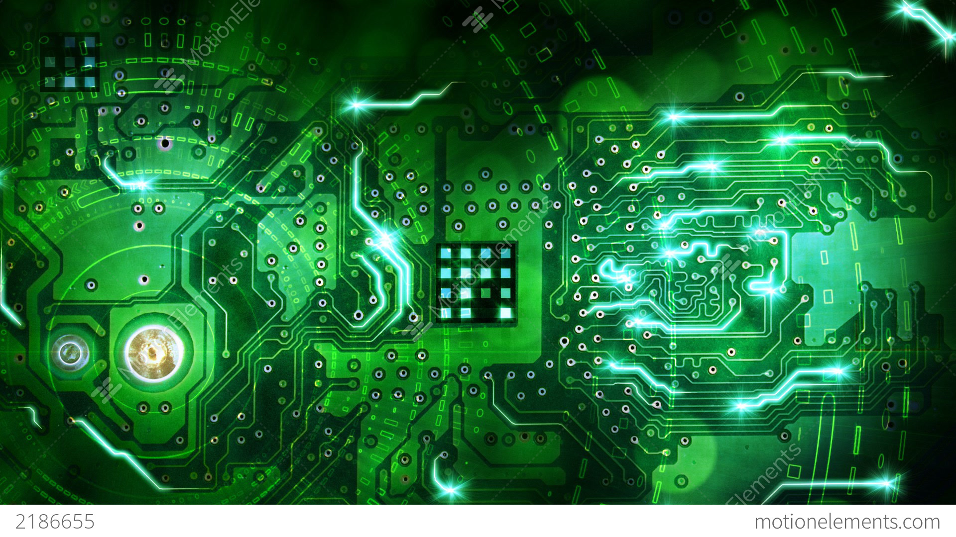 Green Computer Circuit Board Background Loop Stock ...