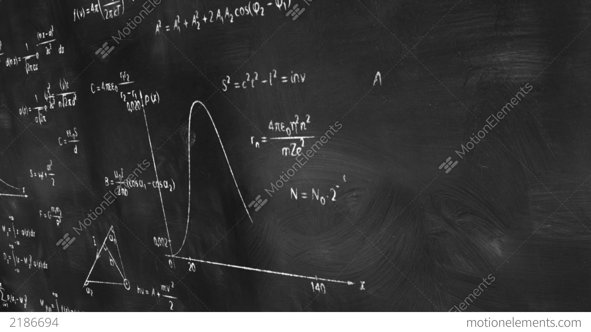 Math Physics Formulas On Chalkboard Panning Loop Stock