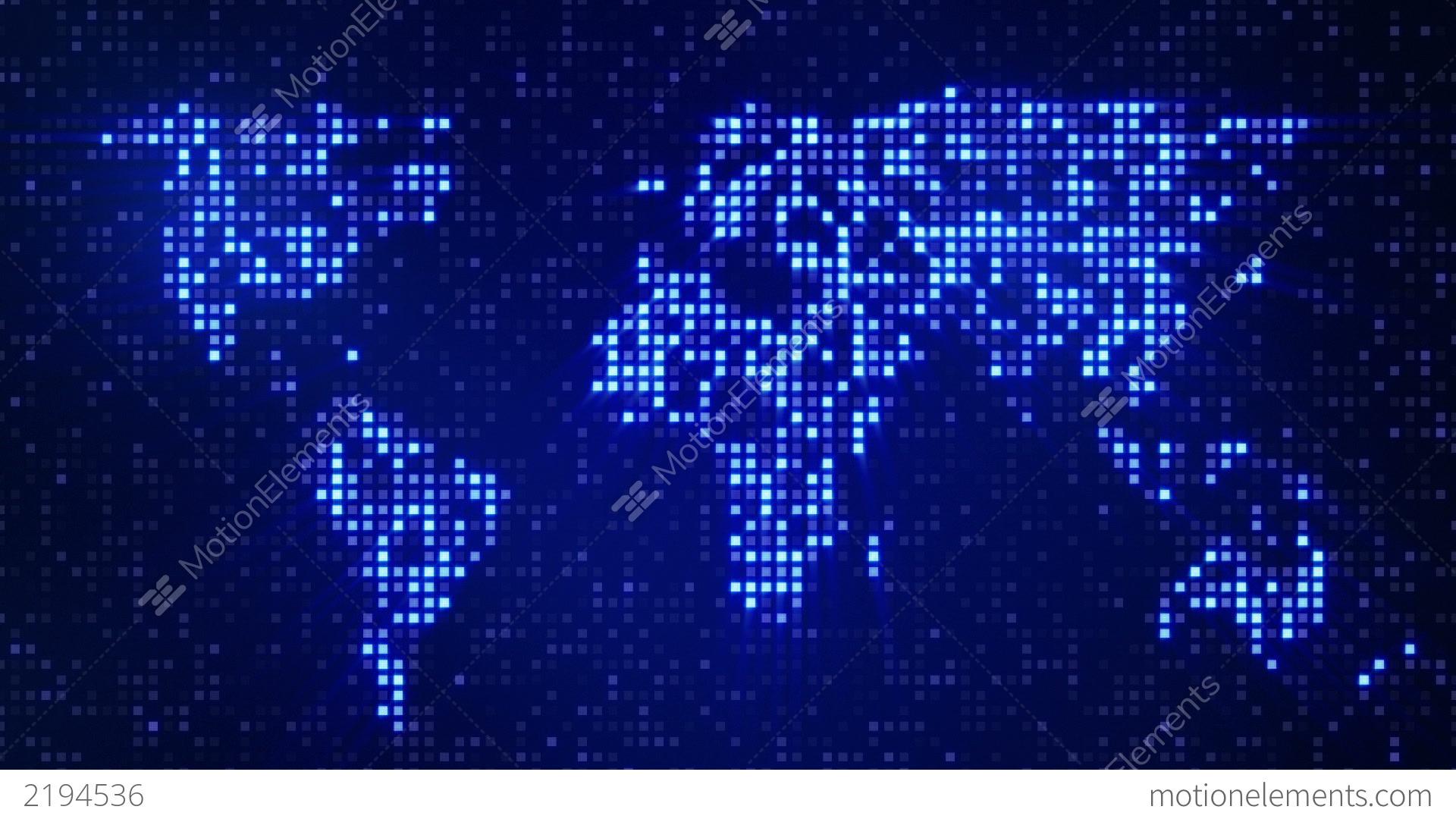 digital blue world map loop stock animation 2194536