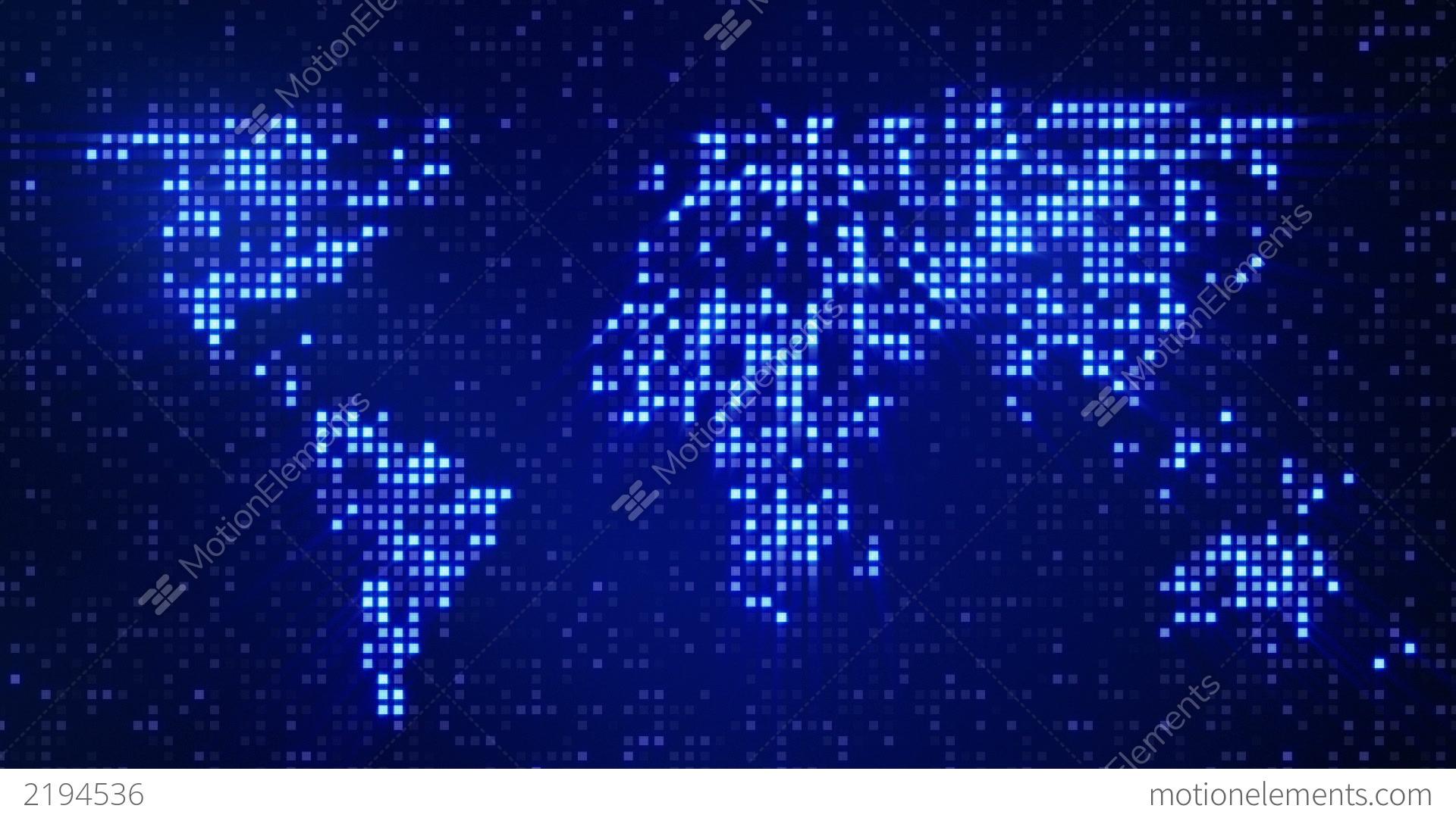 Digital Blue World Map Loop Stock Animation