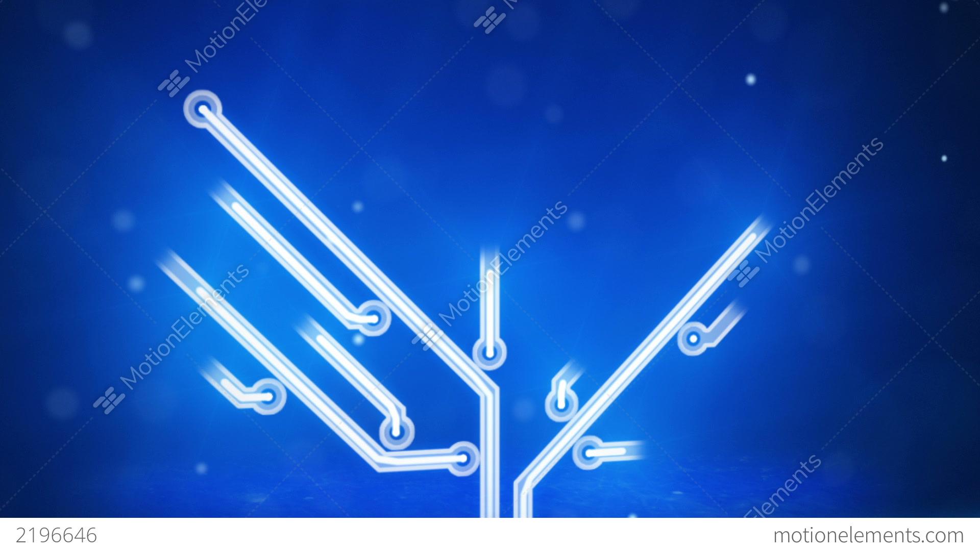 Blue Circuit Board Electronic Hi-tech Growing Tree Stock Animation ...