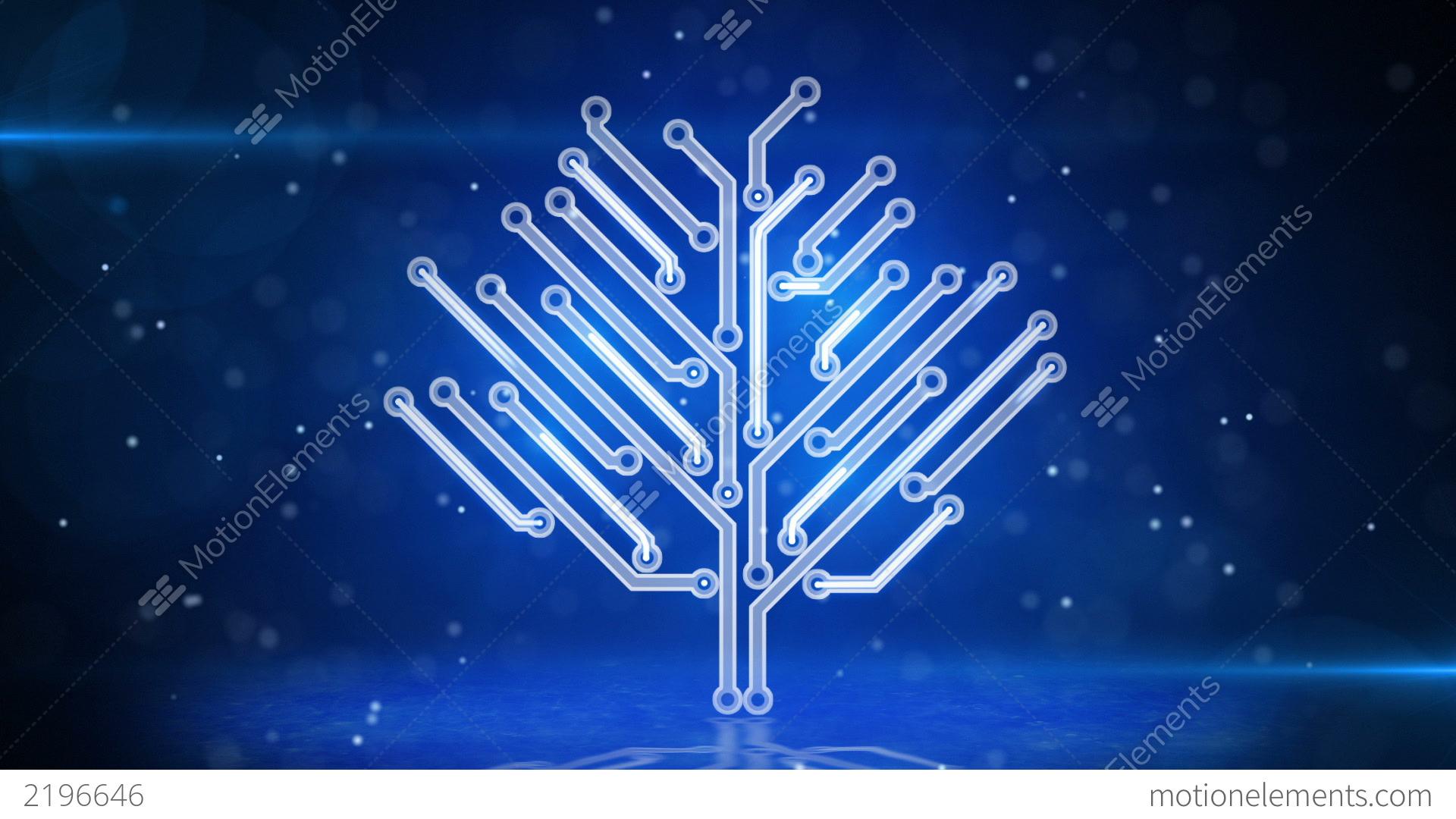 Blue Technology: Blue Circuit Board Electronic Hi-tech Growing Tree Stock