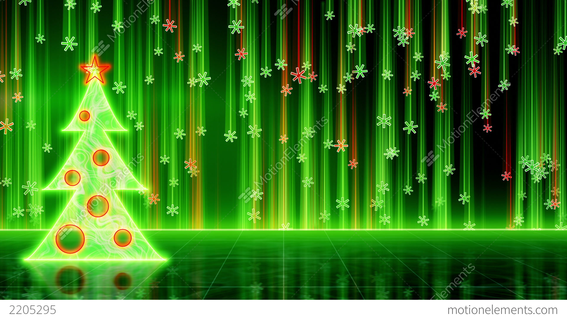 Futuristic Christmas Tree And Snowfall Loop Stock