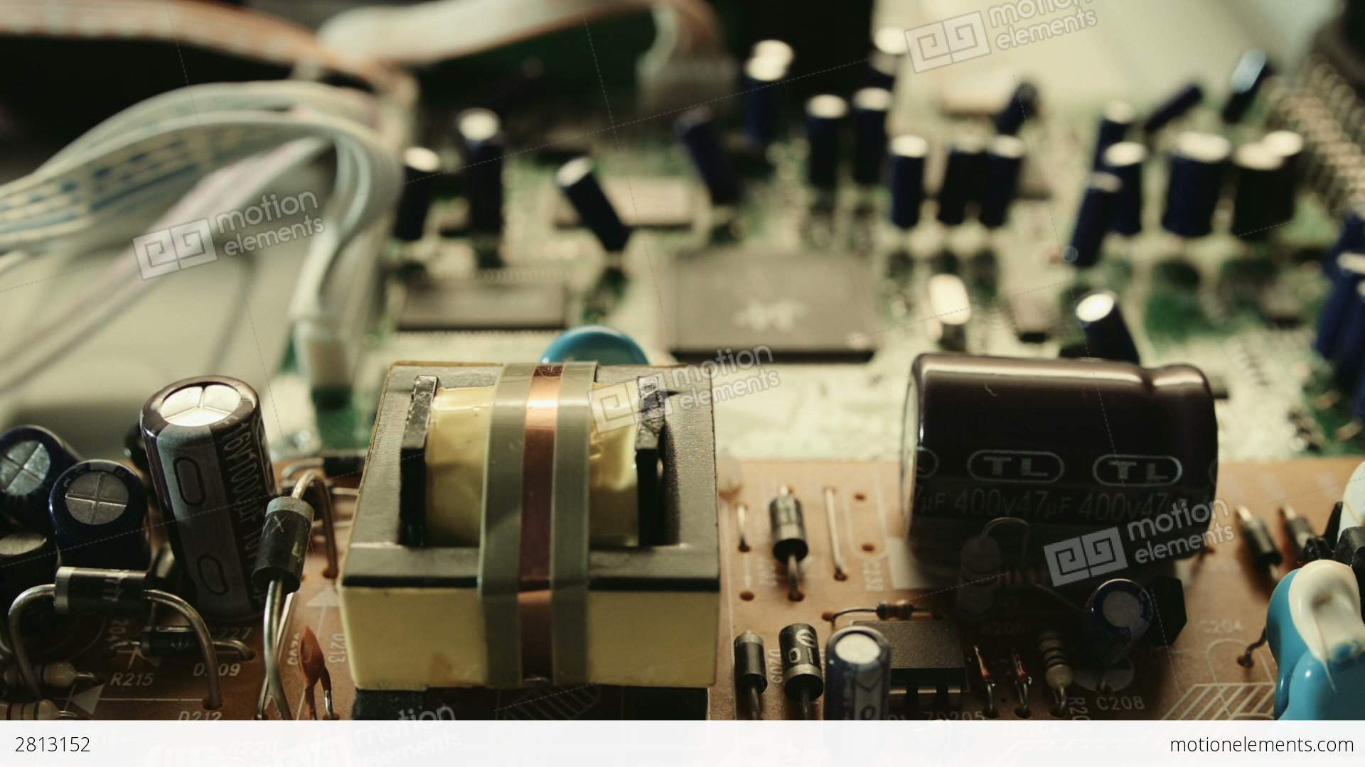 Printed Circuit Board And Transistors Close Up Hd Stock Video Footage