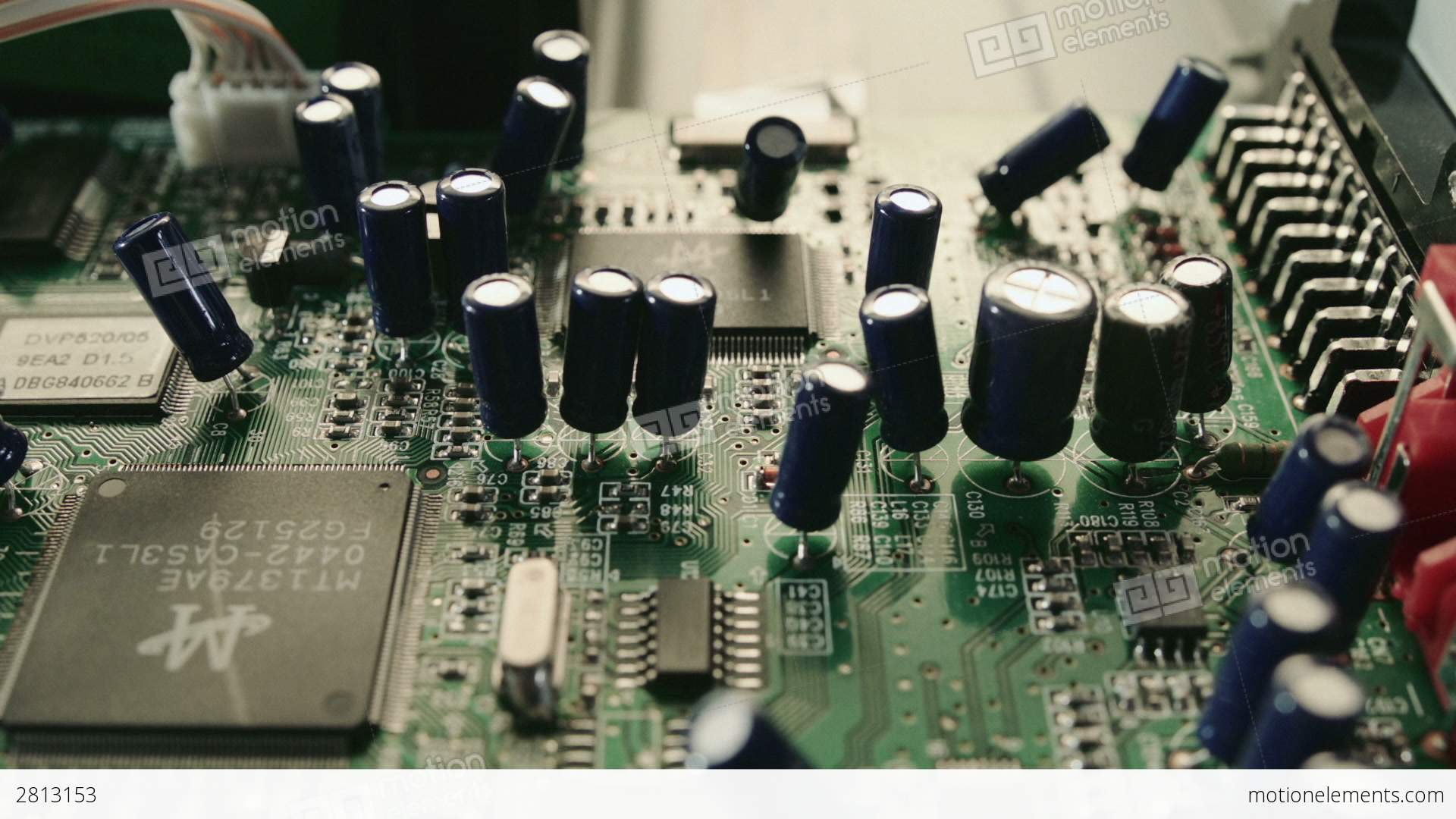 Printed Circuit Board And Transistors Close Up Hd Stock Video Electronic Royalty Free Photography Footage