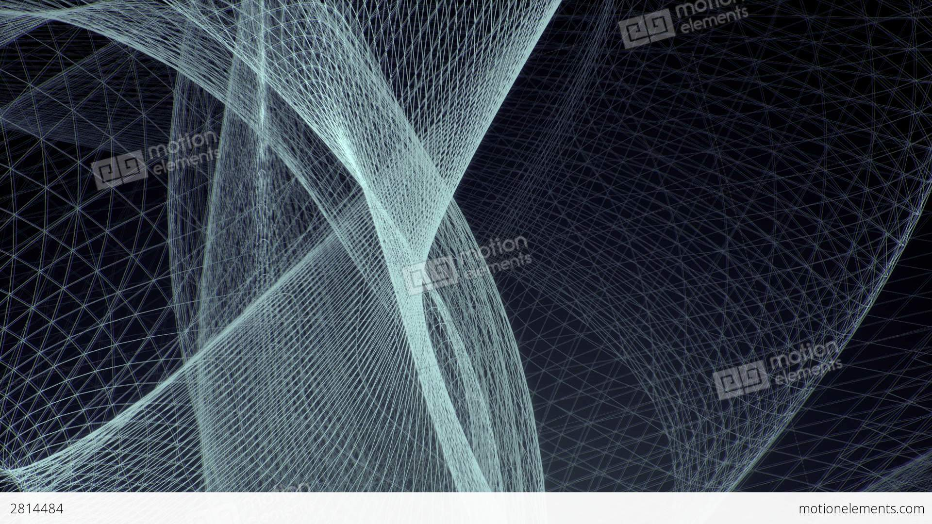 Tangled Rotating Network Of Glowing 3D Wires Stock Animation | 2814484