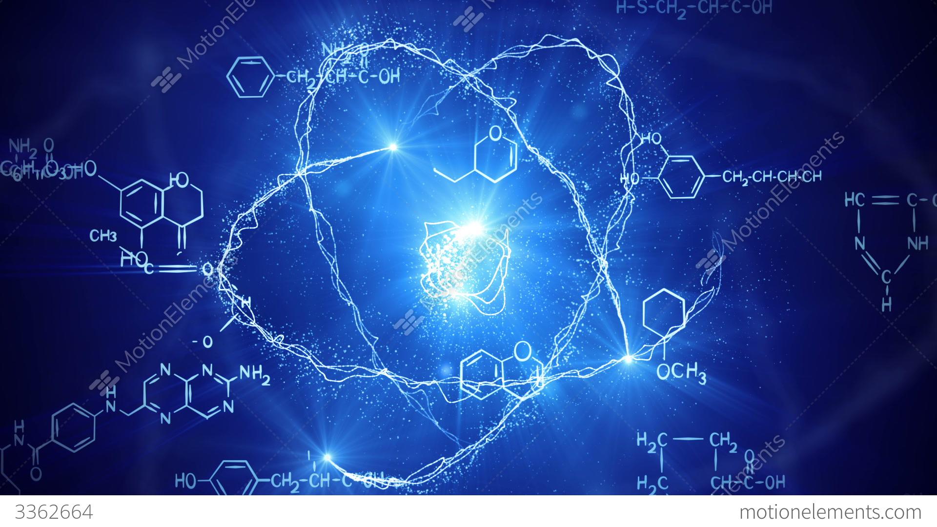 Shiny Atom Model And Chemistry Formulas Loopable Stock