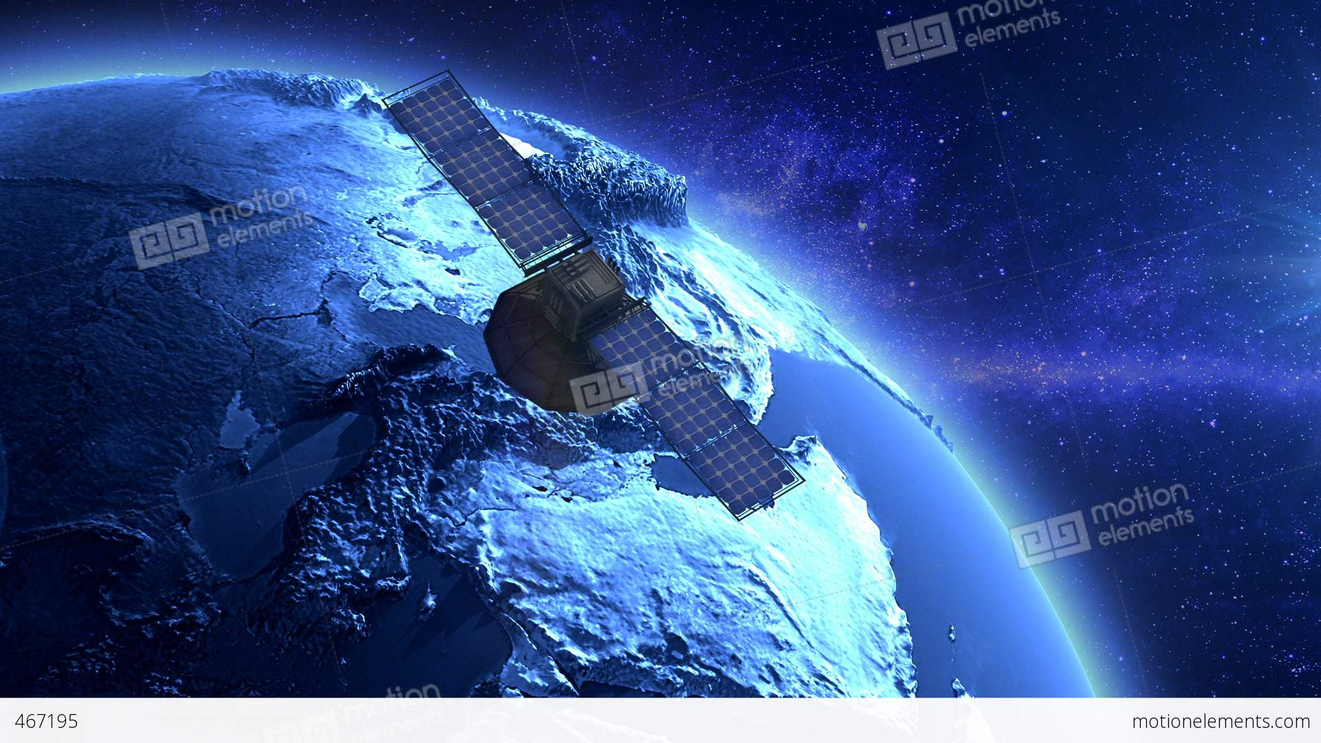 artificial satellite orbiting the earth stock animation