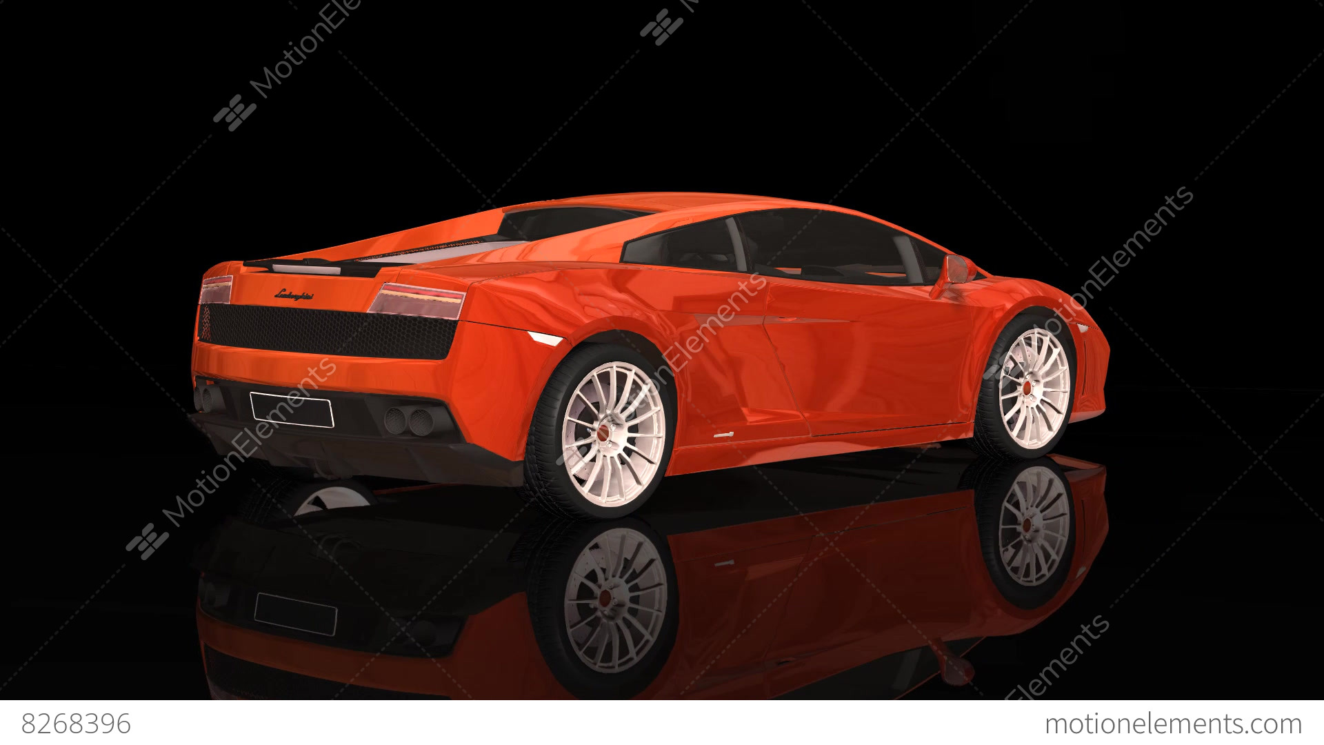Luxury Sport Car Lamborghini Orange Color Moving Rotation Stock