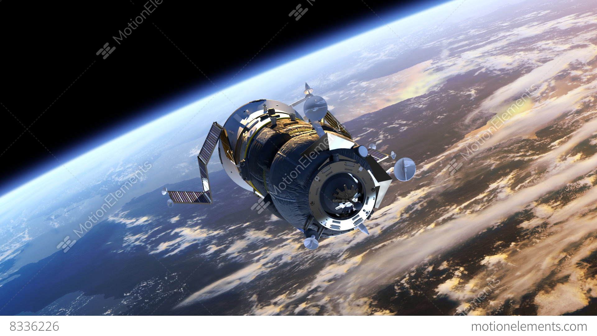 "Spacecraft ""Progress"" Deploys Solar Panels Stock Animation ..."