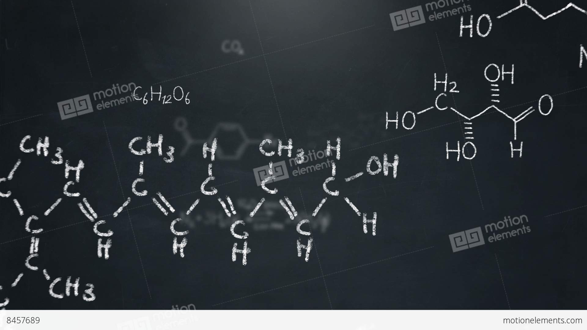 Chemistry Formulas And Structures Floating A Chalkboard Stock