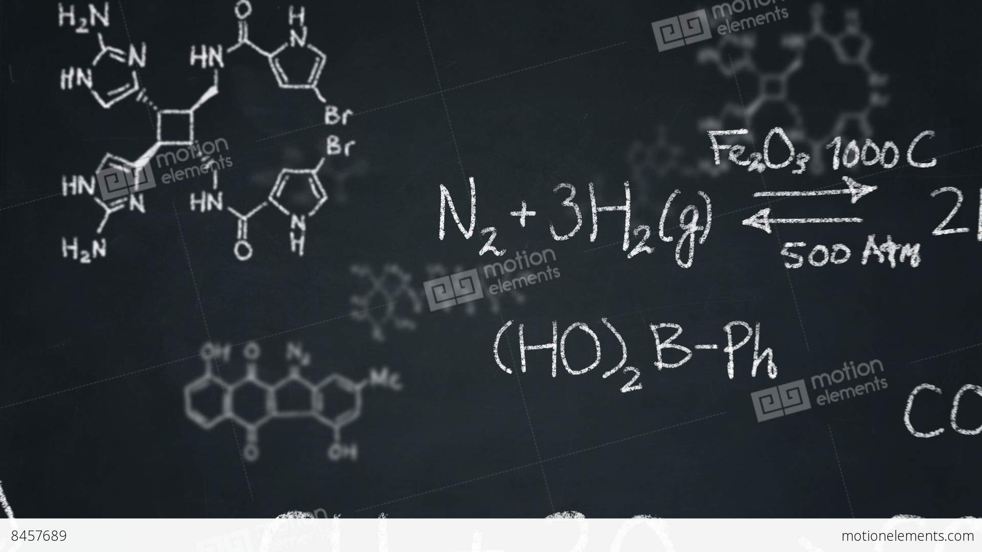 Chemistry Formulas And Structures Floating On A Chalkboard Stock ...