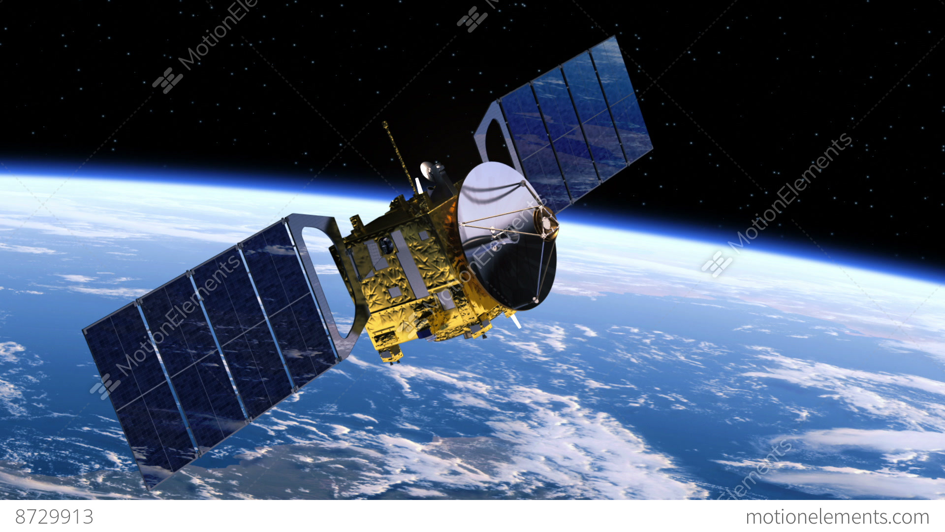 Satellite Deploys Solar Panels Stock Animation 8729913