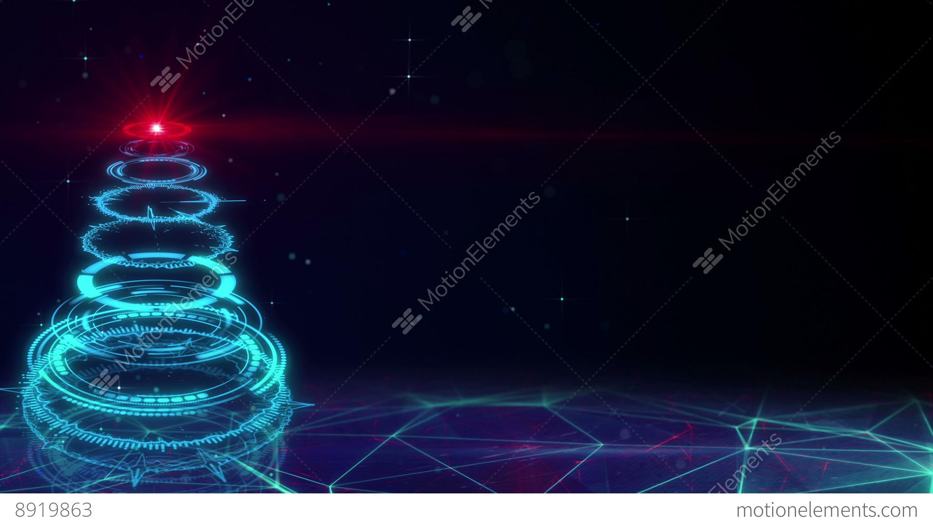Blue Sci-fi Christmas Tree Loopable Animation 4k (4096x2304) Stock ...
