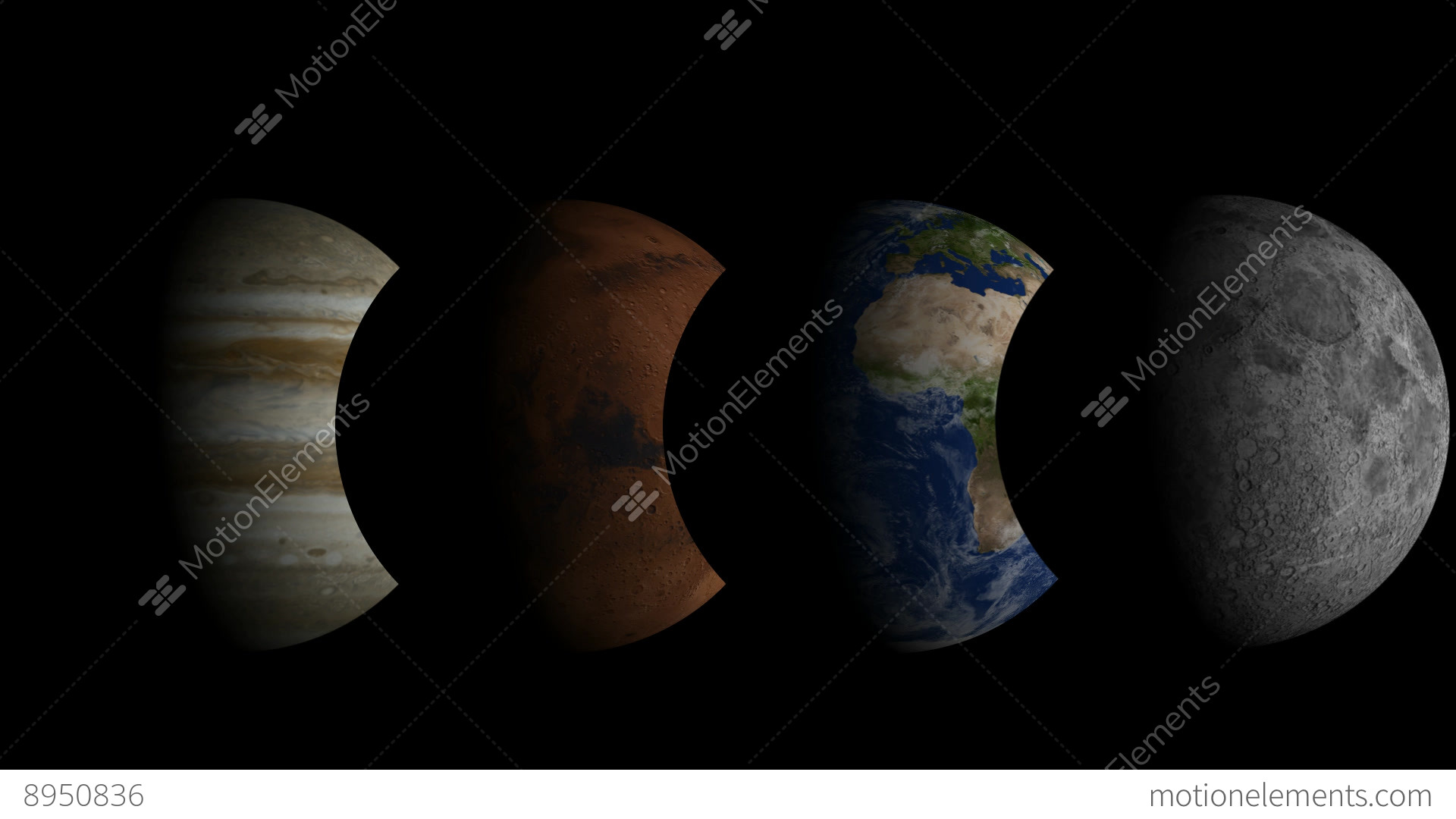 time lapse moon earth mars and jupiter stock animation 8950836