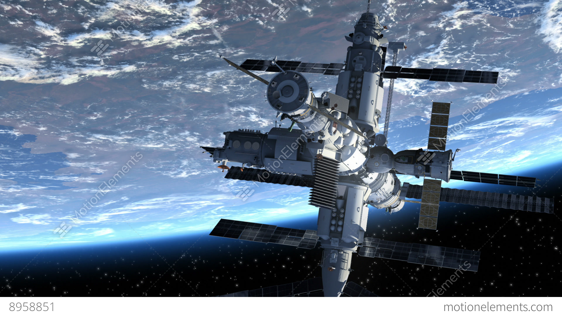 Flight of the space station above the earth 3d animation for 3d map of outer space