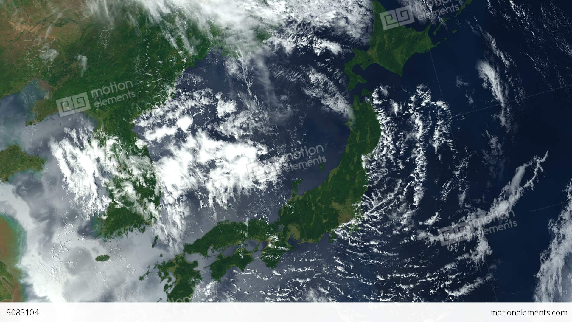 Aerial Map Of Japan.Japan From Space Japanese Islands Zoom Earth From Space Stock