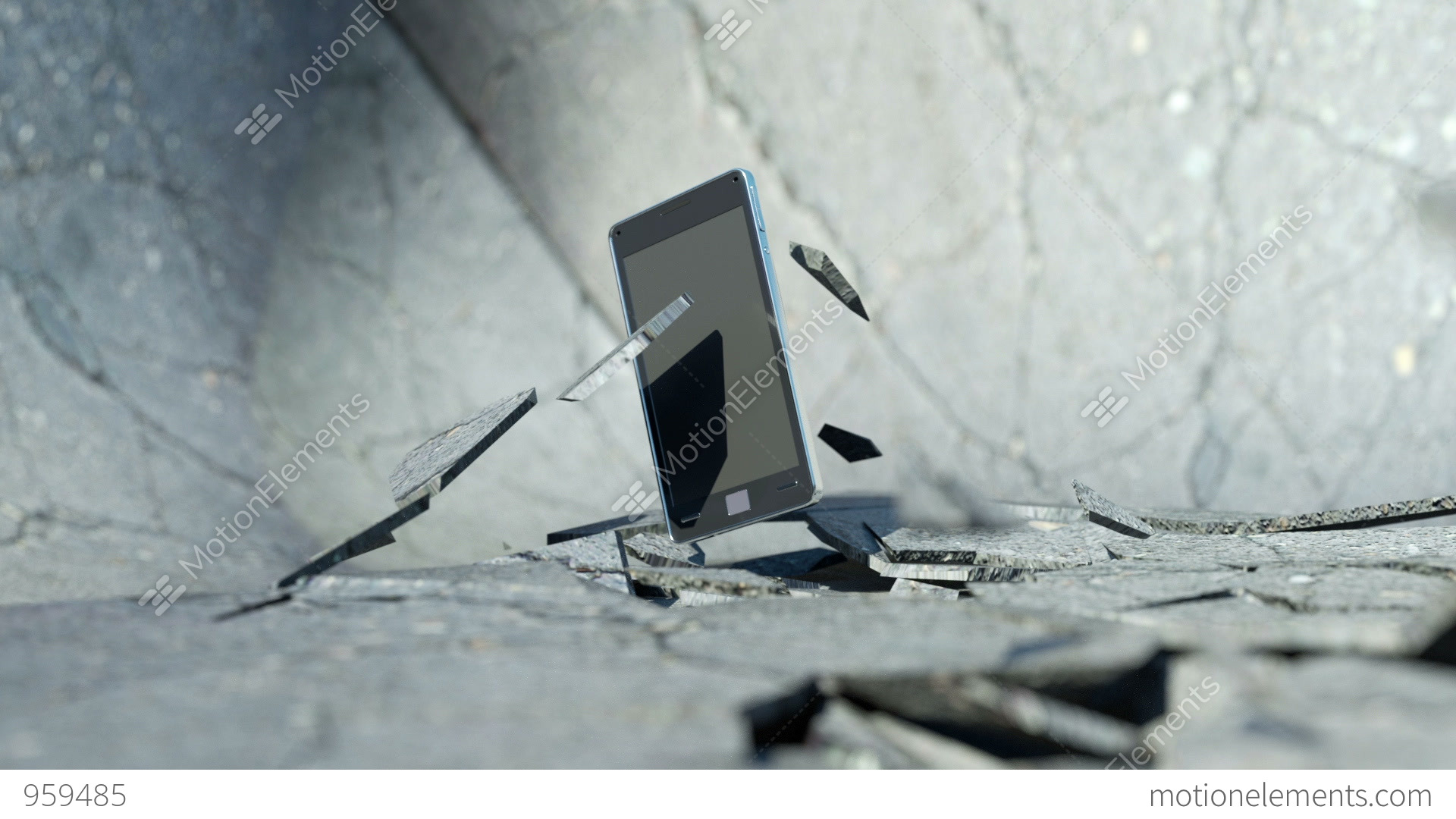 Smart phone falling down and smashing the concrete floor for Down to the floor