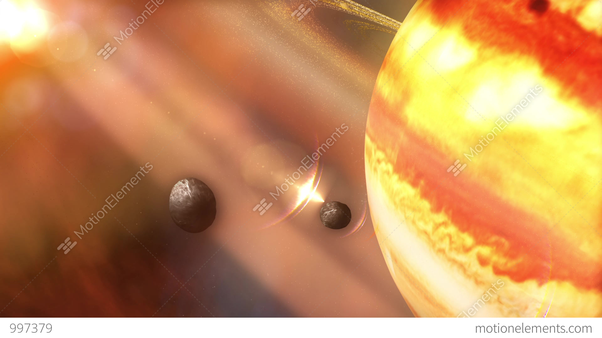 Saturn's Rings Focusing On Janus & Epimetheus Moons Stock ...
