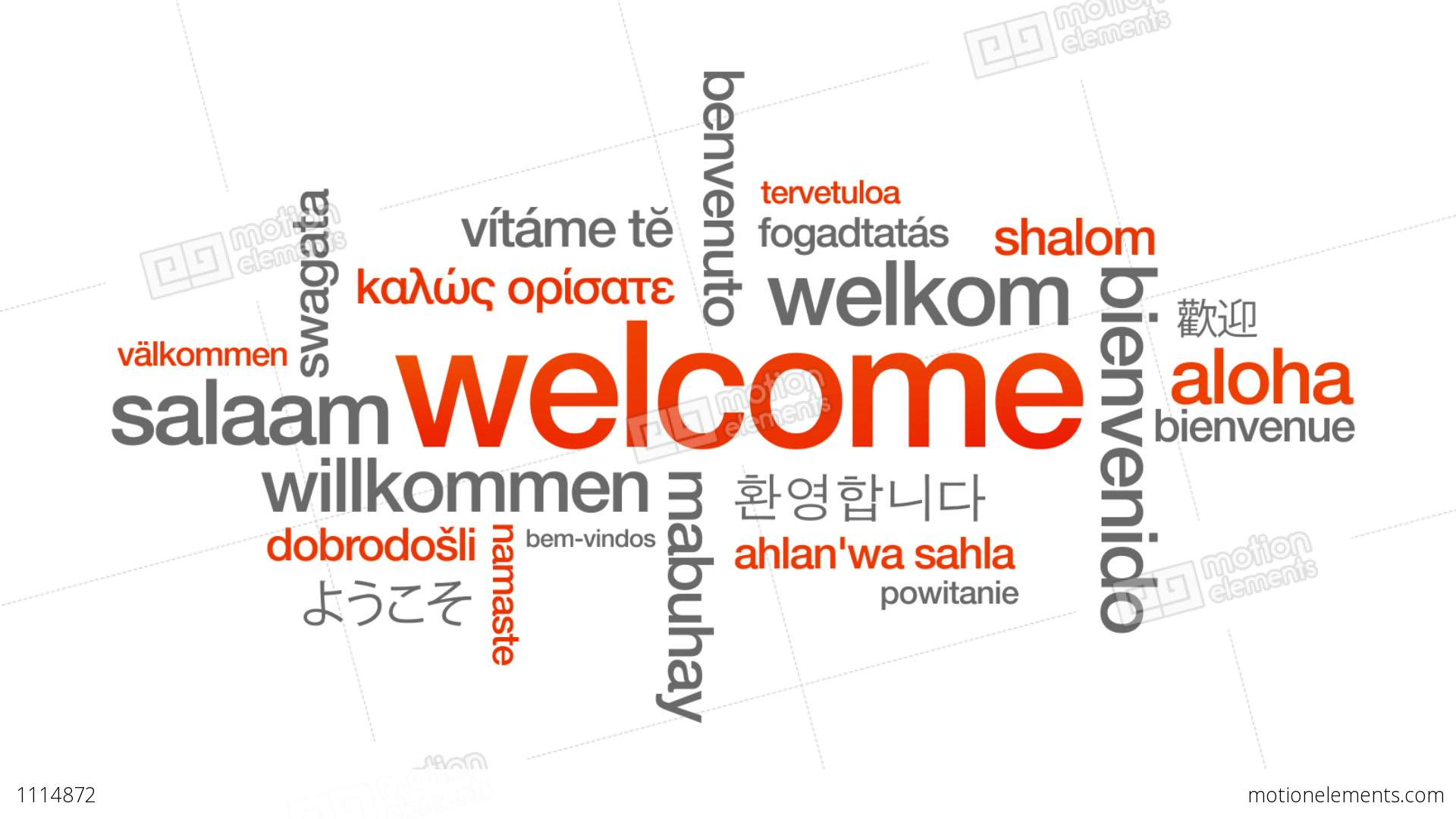 Welcome In Different Languages Stock Animation 1114872