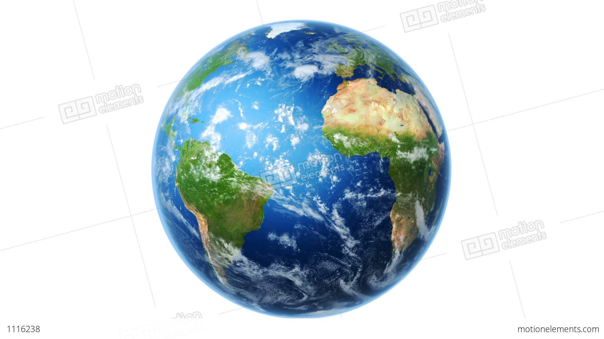 Realistic World Map Wraps To Globe White Backgrou Stock Animation