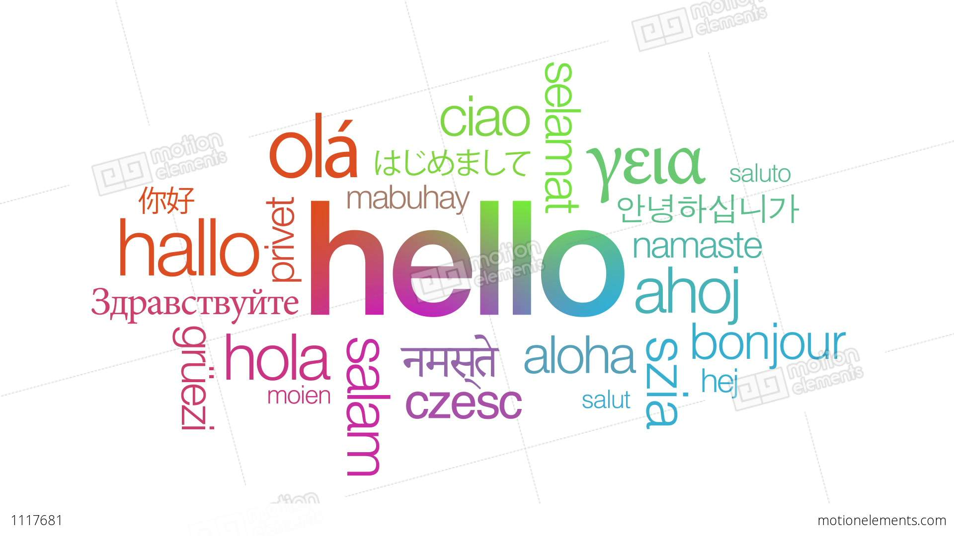 Hello In Different Languages Stock Animation | 1117681