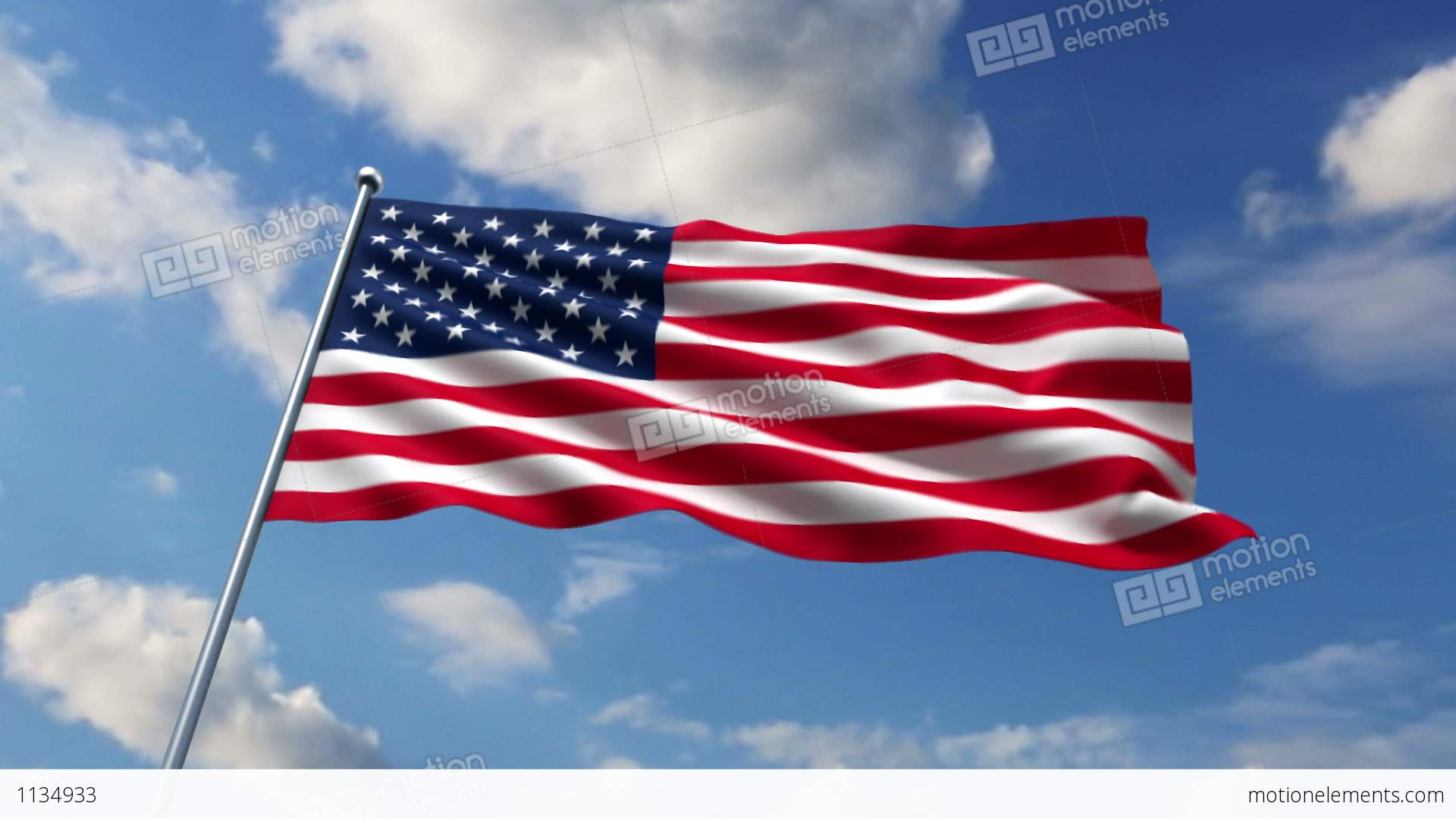 USA Flag Waving Against Time-lapse Clouds Background Stock ...