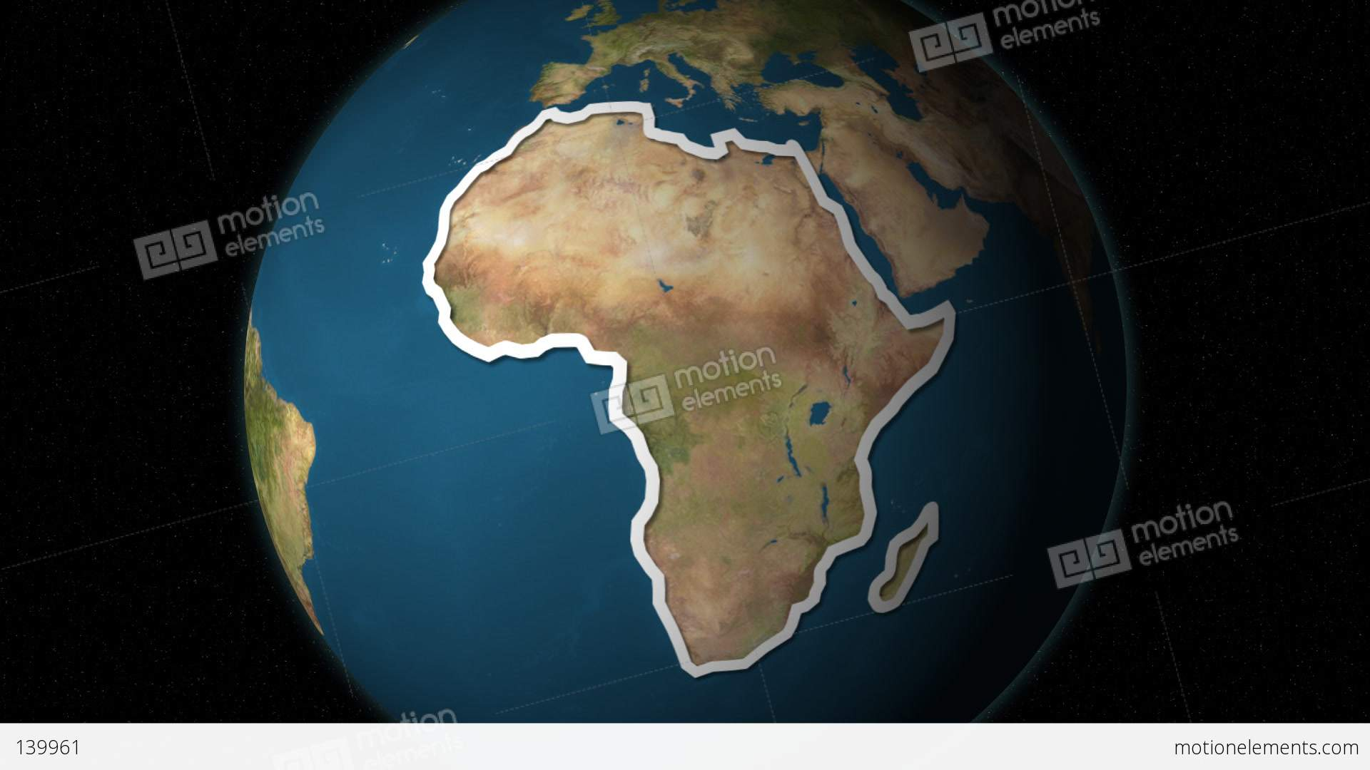 Dramatic Zoom Into The African Continents Map From A Rotating