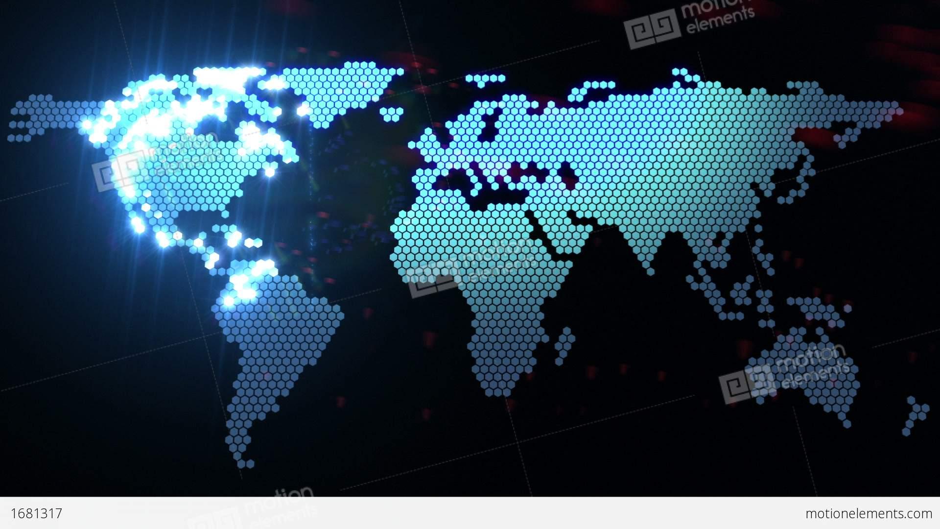 digital world map stock animation 1681317