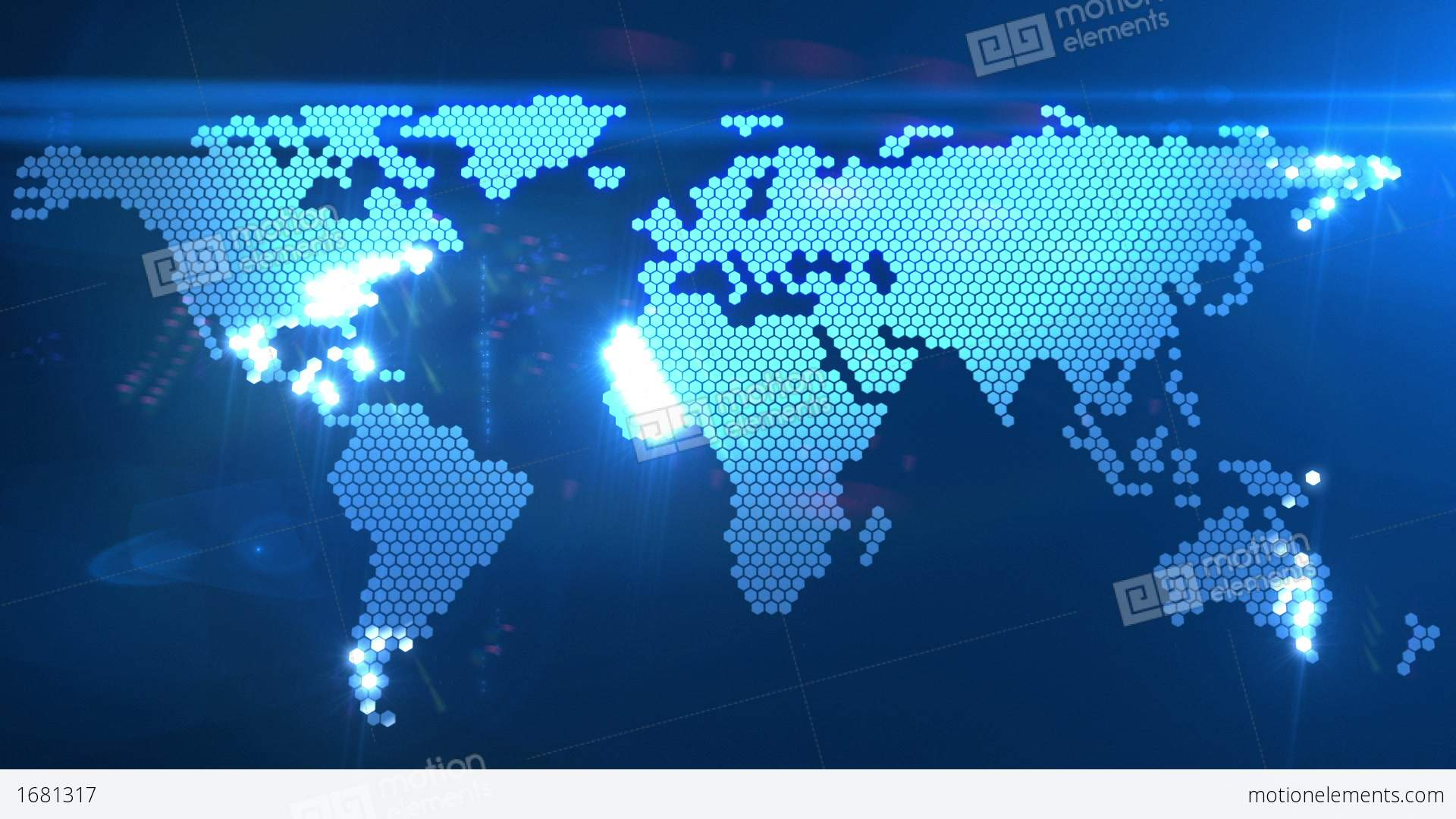 Digital World Map Stock Animation