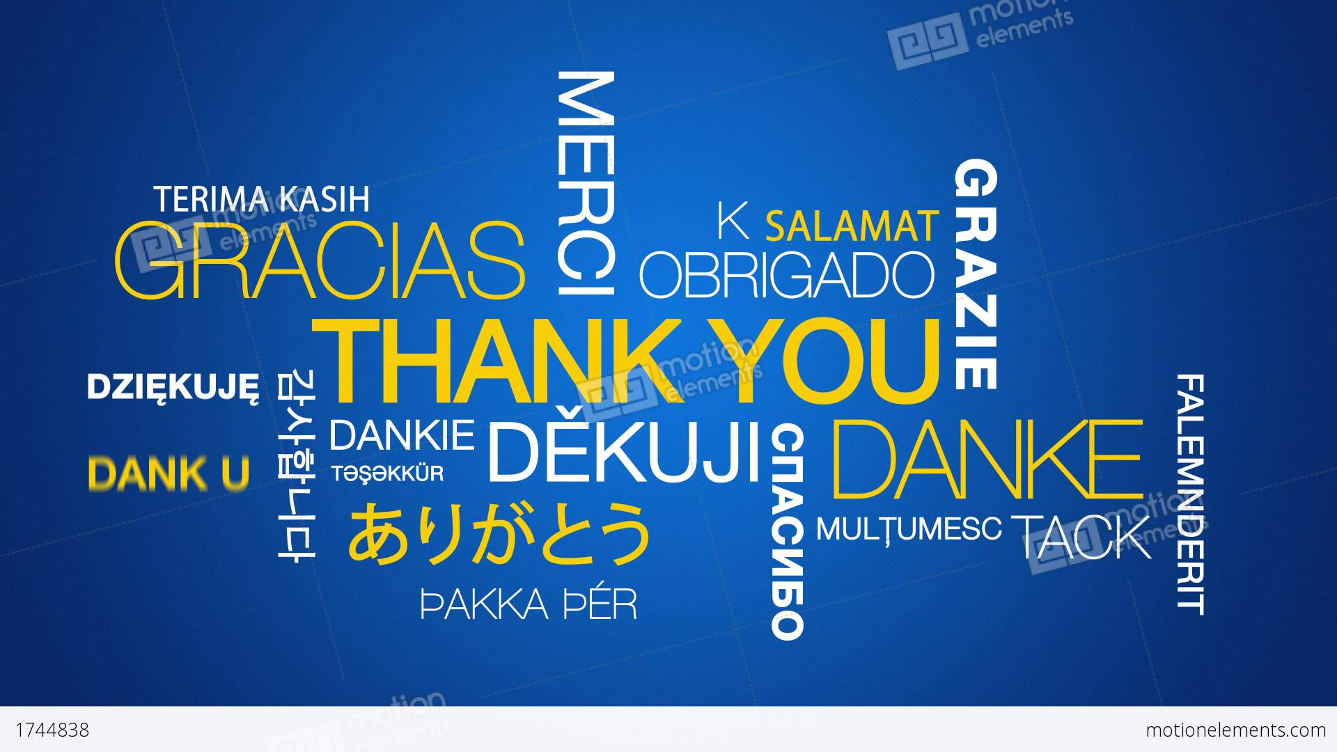 thank you in different languages stock animation 1744838