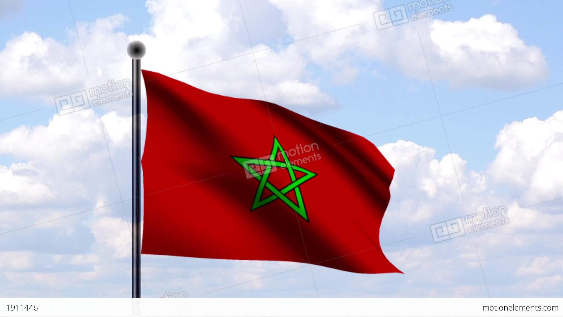 Animated Flag Of Morocco Marokko Stock Animation