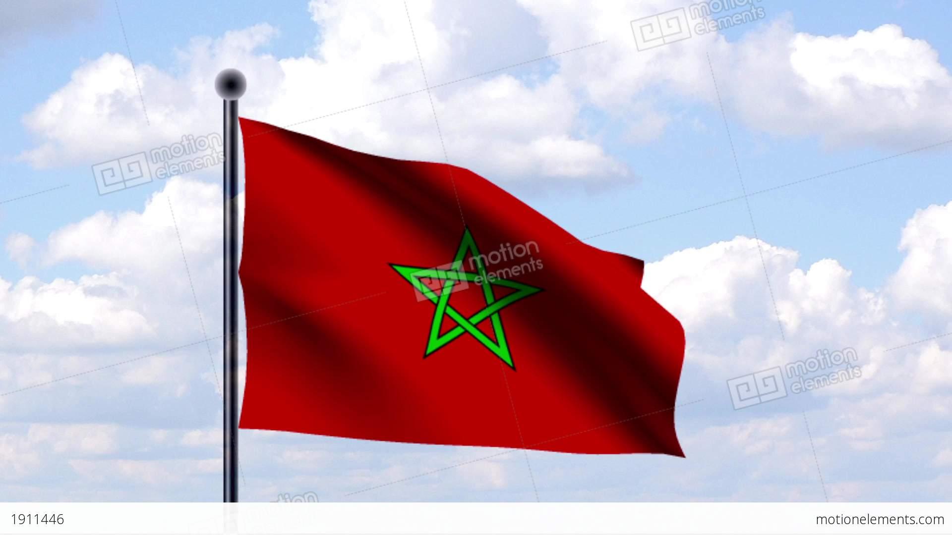 Animated Flag Of Morocco Marokko Stock Animation 1911446