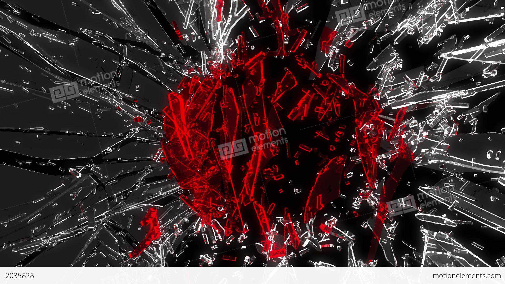 shattered glass red broken heart shape alpha is stock