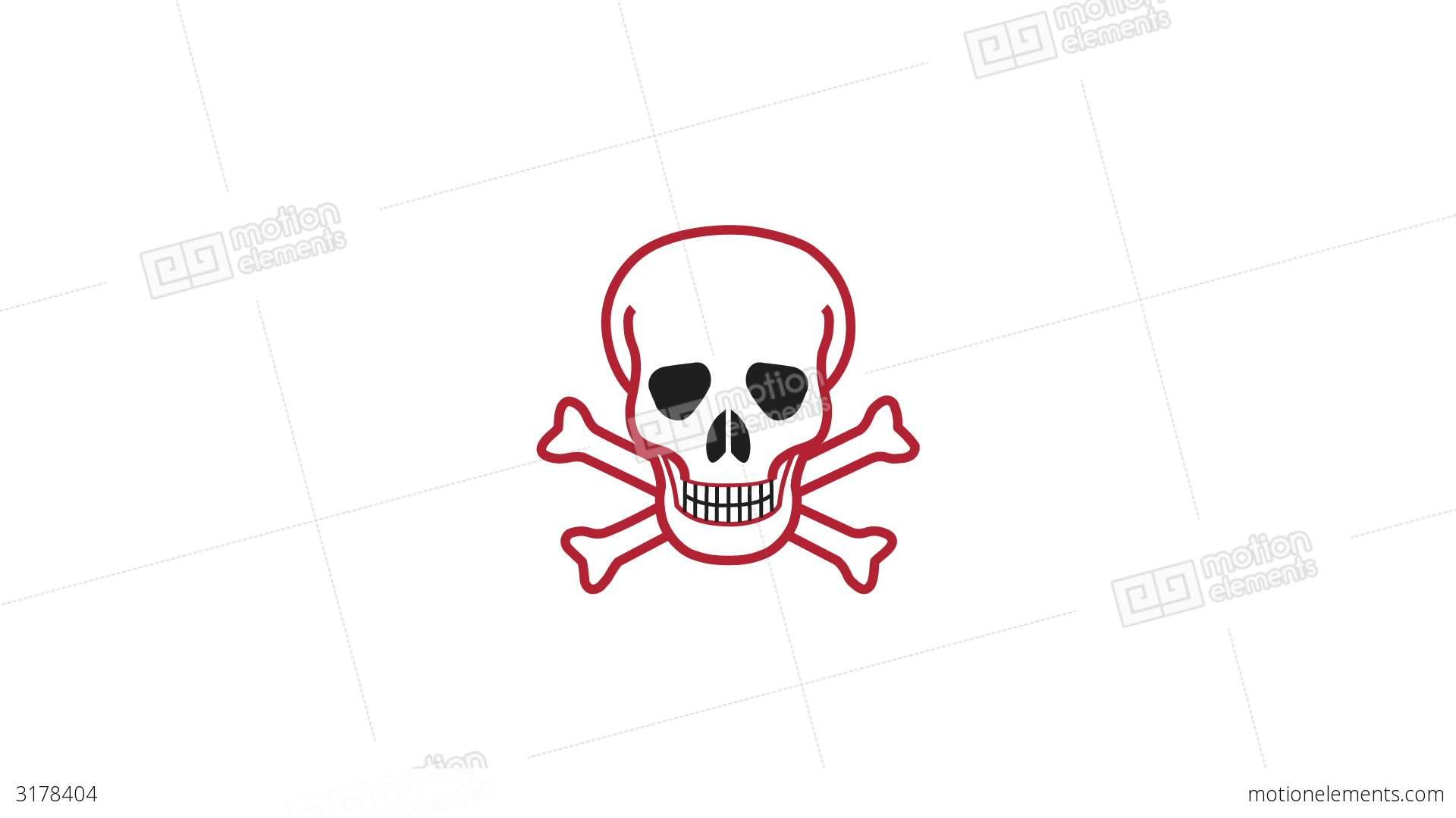 Pulsing Skull And Crossbones Symbol Stock Video Footage 3178404