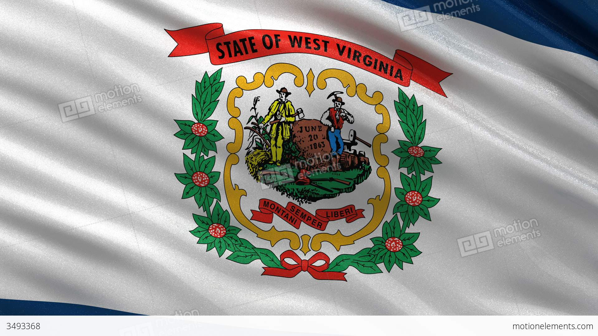 Us State Flag Of West Virginia Seamless Loop Stock Animation 3493368